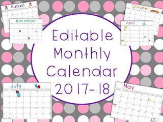 https://www.teacherspayteachers.com/Product/Editable-Monthly-Calendar-2017-18-1998156
