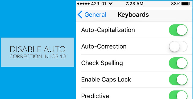 How to disable Auto-Correction while typing in iOS 10 To disable Auto-Correction on your iPhone or iPad running iOS 10, follow this simple steps; 1. Open the Settings app. 2. Tap on General.