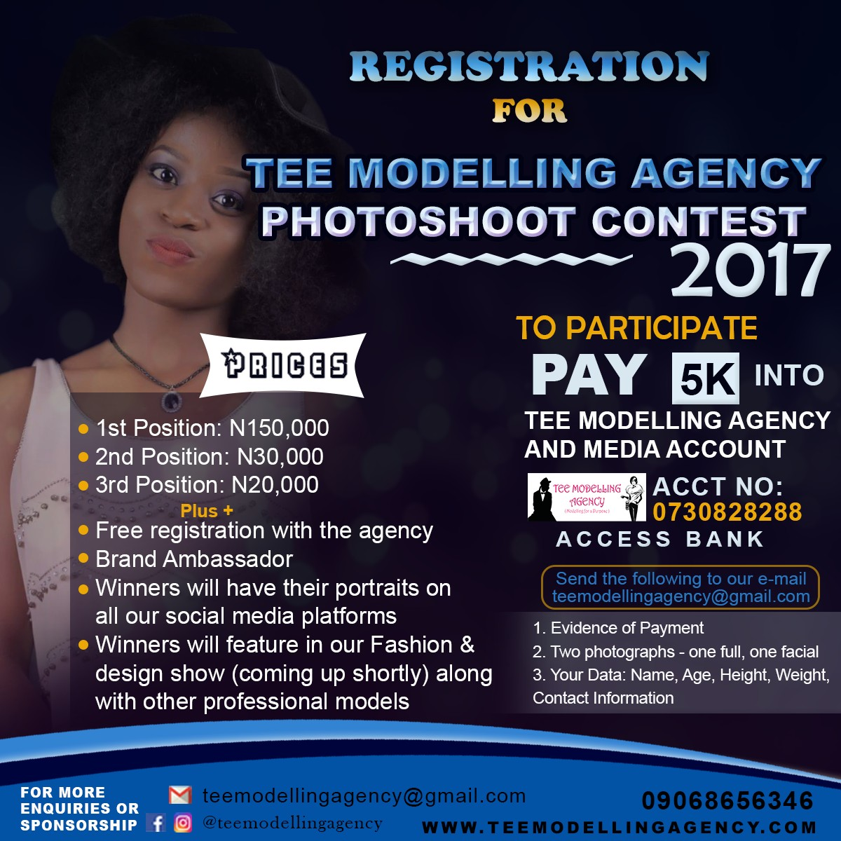 TEE MODELLING AGENCY 2017 PHOTOSHOOT CONTEST FORM NOW ON.