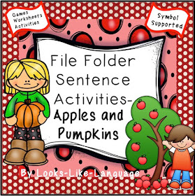 File Folder Sentence Activities for Autism- Trips to the Apple and Pumpkin Farms