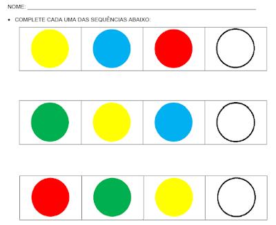 Completando as sequências de cores