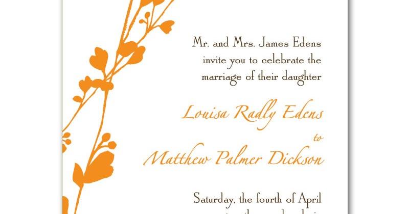 Orange Wedding Invitations: Free Wedding Invitation