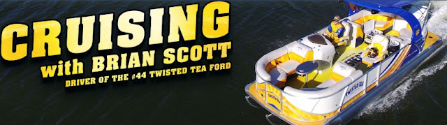 Twisted Tea wants you to enter the Motorboatin' & Floatin' Sweepstakes, AKA Cruisin' with Brian Scott, driver of their #44 Twisted Tea Ford, where you could win a pontoon boat, worth over $60,000!