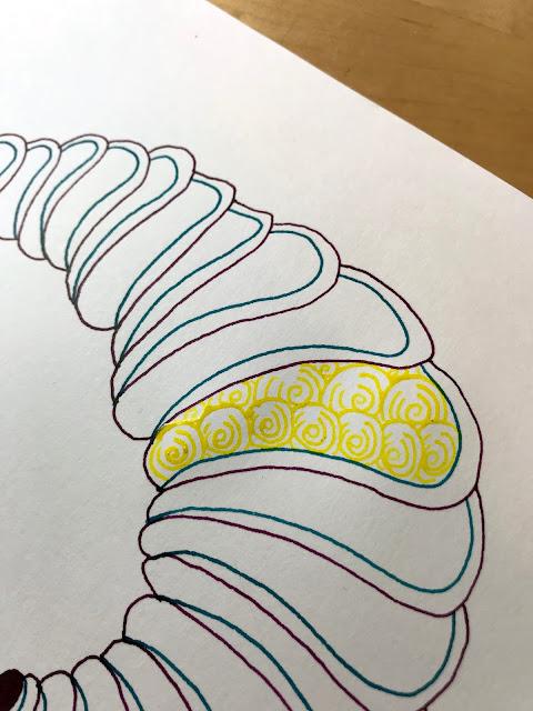 glass dip pen art piece in progress using Liquitex ink