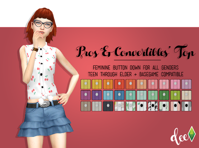 Pussybow Top at Deetron Sims » Sims 4 Updates