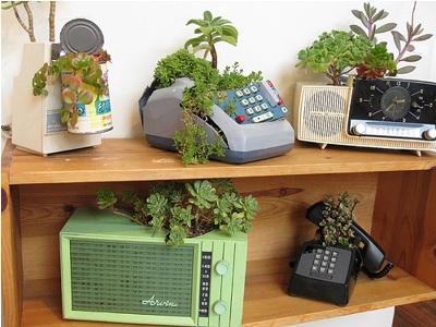 10. Pot succulent dari perabot elektronik retro