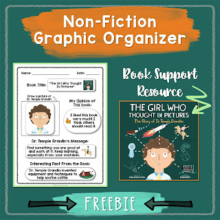 "This versatile graphic organizer compliments the children's book, ""The Girl Who Thought In Pictures,"" by Julia Finley Mosca. Students will demonstrate reading comprehension by completing this story graph about Temple Grandin. This resource was created to fit the needs of students with limited writing ability, but includes options for a variety of levels."