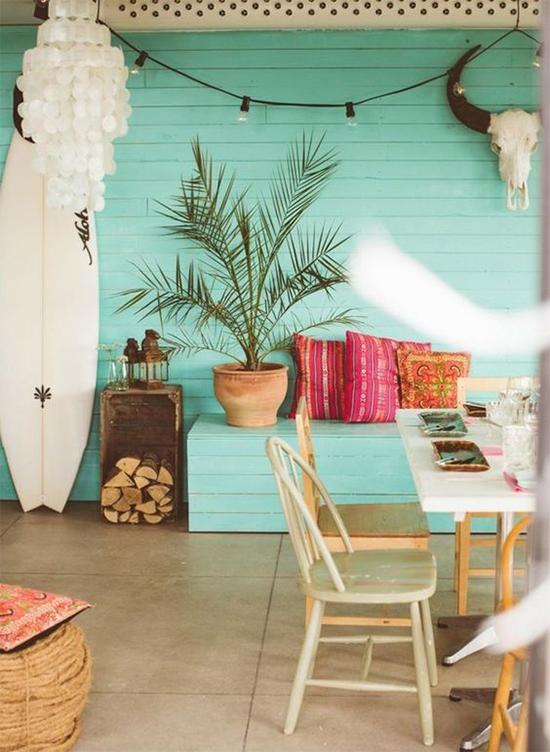 casa de praia, parede azul, a casa eh sua, acasaehsua, varal de luz, casa na praia, decor, home decor, home, interior, boho