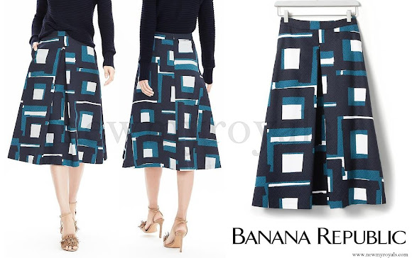 Kate Middleton wore Banana Republic Geo Jacquard Skirt, Goat blouse