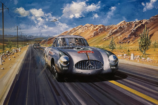 Carrera Panamericana 1952 print by Nicholas Watts, Autographed by Karl Kling, available at l'art et l'automobile.