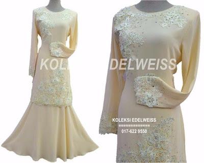 Baju Kurung Moden Lace Untuk Nikah Cream