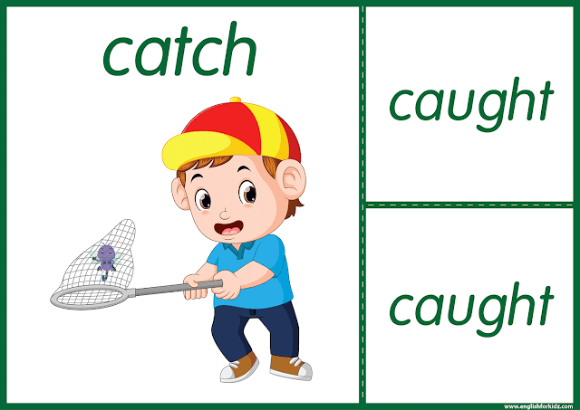 Irregular verb catch - printable ESL flashcards