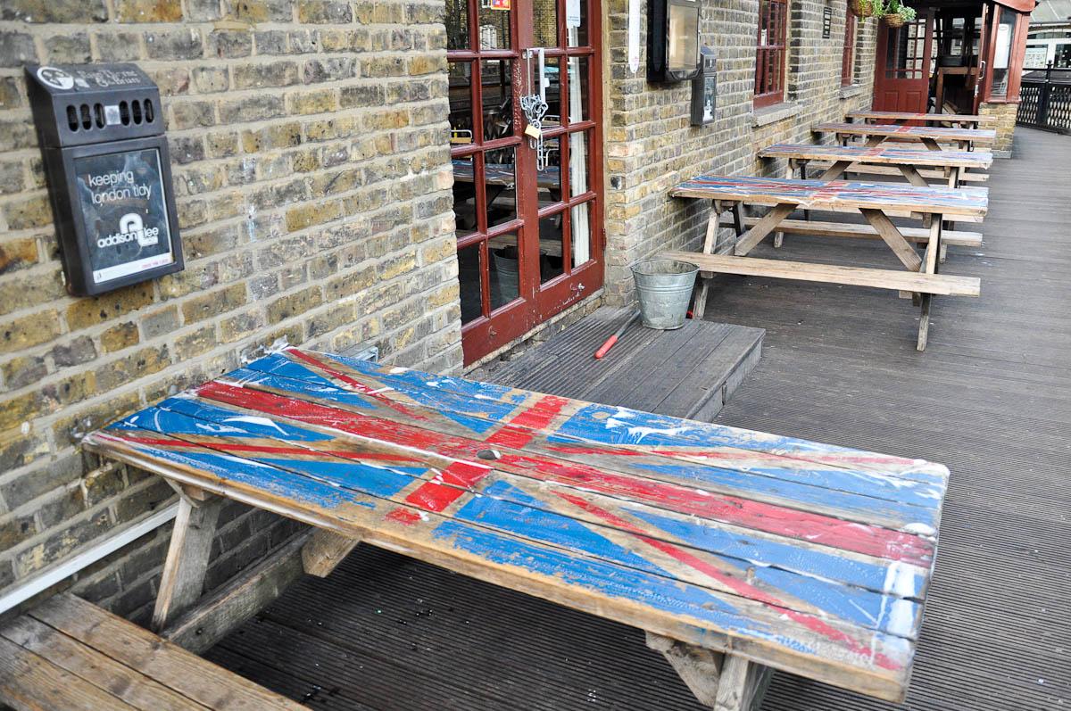 Pub benches, Camden Lock Market, Camden Town, London, England