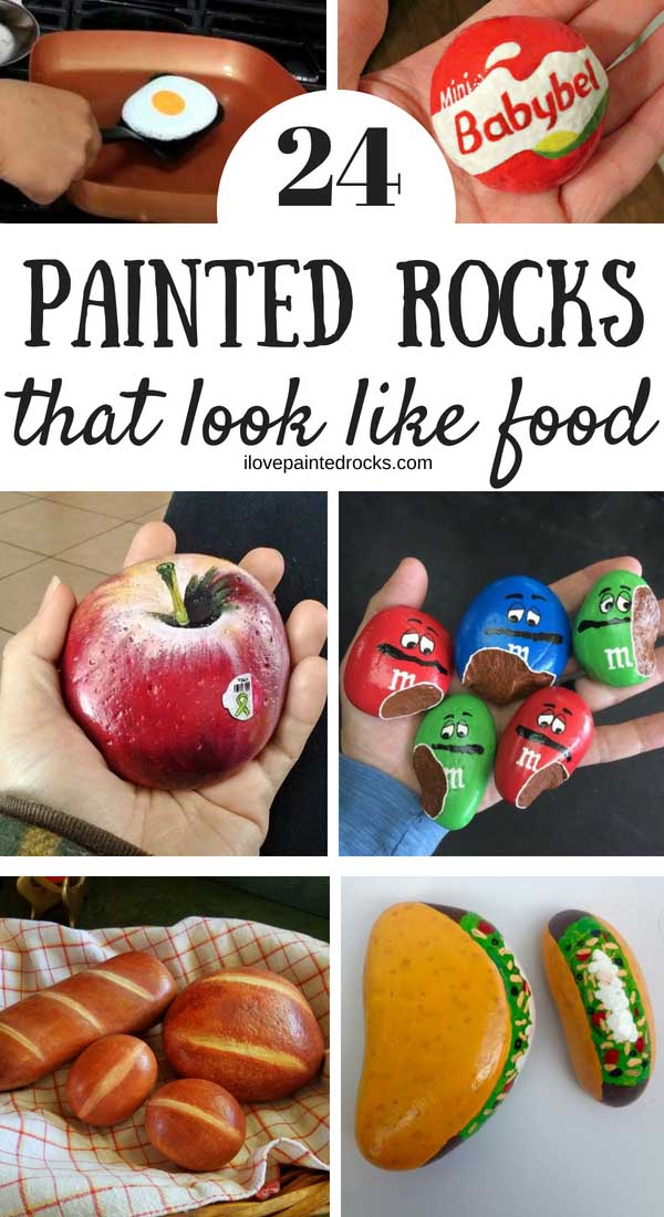 24 painted rocks that look like food. These inspirational rock painting ideas are all super cool rocks that people painted to look like food! #ilovepaintedrocks #rockpainting #coolpaintedrocks #paintedrocks #rockpaintingideas