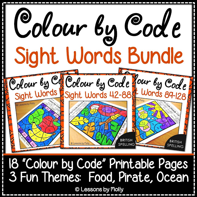 https://www.teacherspayteachers.com/Product/Colour-by-Code-Sight-Words-Bundle-FoodPirateOcean-128-Words-British-Spelling-3124054