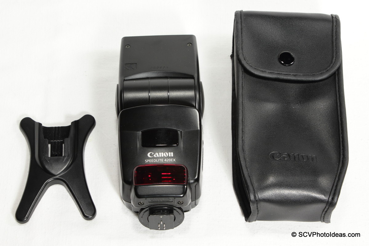 Canon Speedlite 420EX stand, flash & leather case