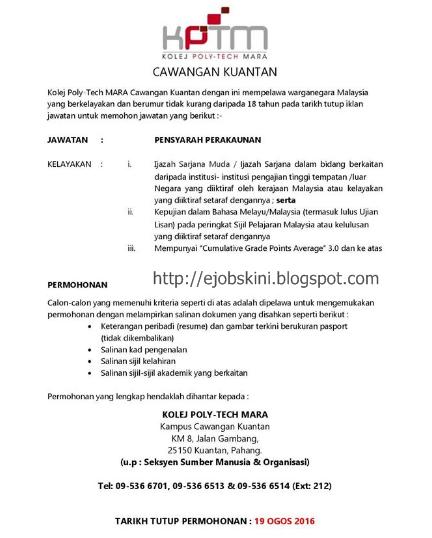 Jawatan Kosong Kolej Poly-Tech MARA (KPTM) Ogos 2016