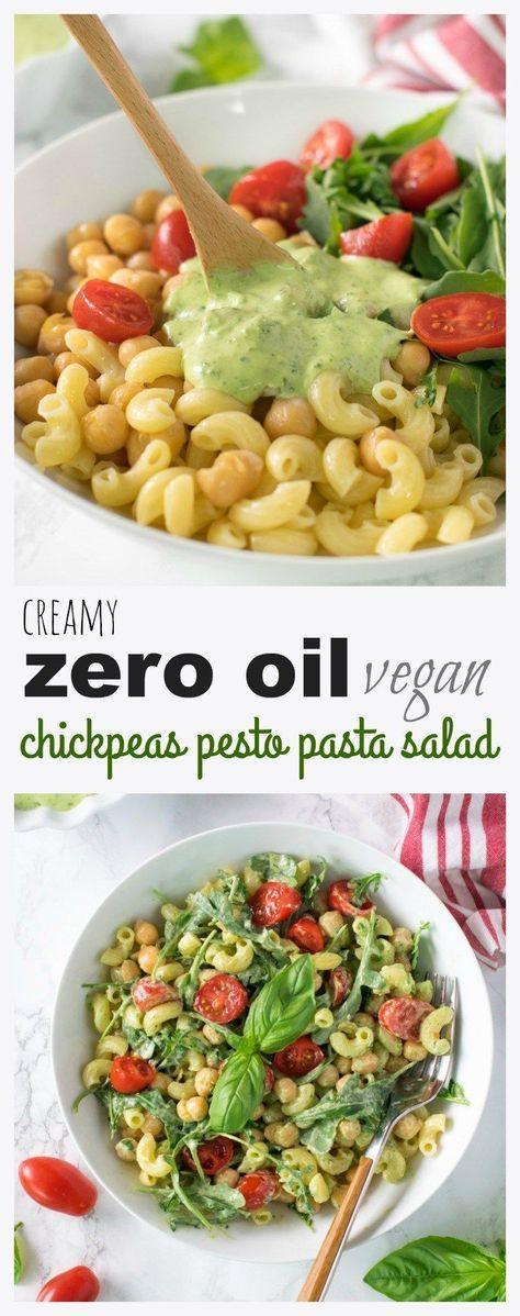 zero oil chickpeas pesto pasta salad Low Carb