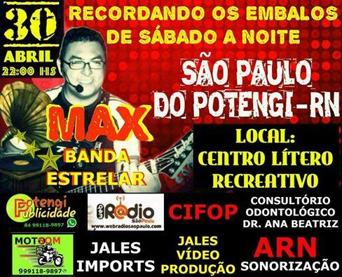 Sábado dia (30) de Abril tem festa no (CLR) Centro Lítero Recreativo em São Paulo do Potengi