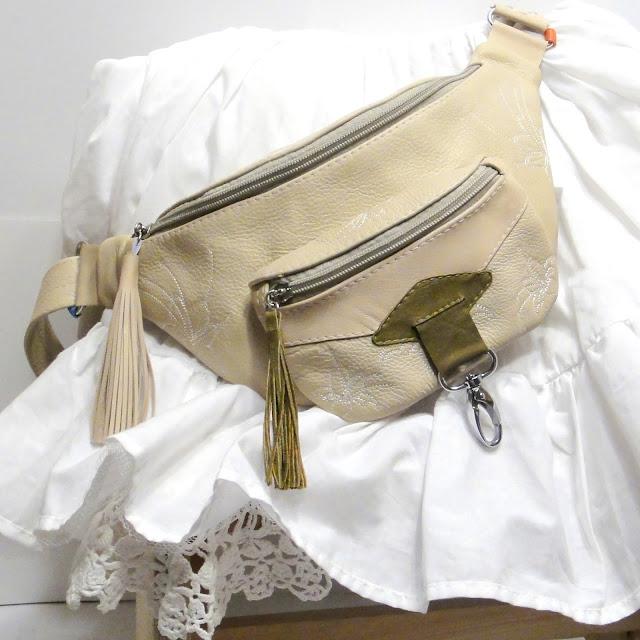 Женская кожаная сумка на талию: в стиле бохо,поясная сумочка с цветами