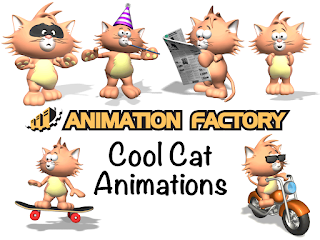 Clipart Image of a Cool Cat Animation Sticker Pack