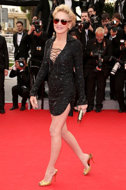 Sharon Stone in an Emilio Pucci dress with Salvatore Ferragamo accessories at Cannes 2014