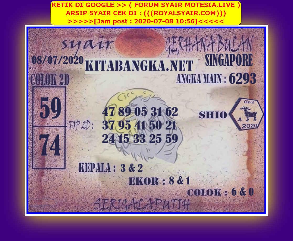 Kode syair Singapore Rabu 8 Juli 2020 177