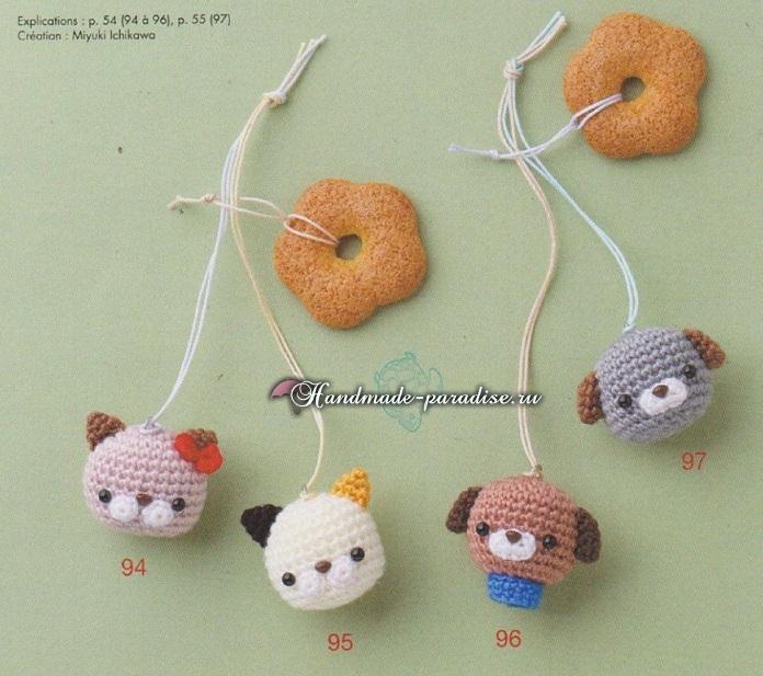 Схемы вязания игрушек амигуруми - головы собачки, медвежонка и кошечки (1)