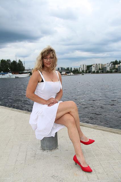stay ups, dress, big breasts, high heels - stay up, mekko, isot rinnat, korkokengät