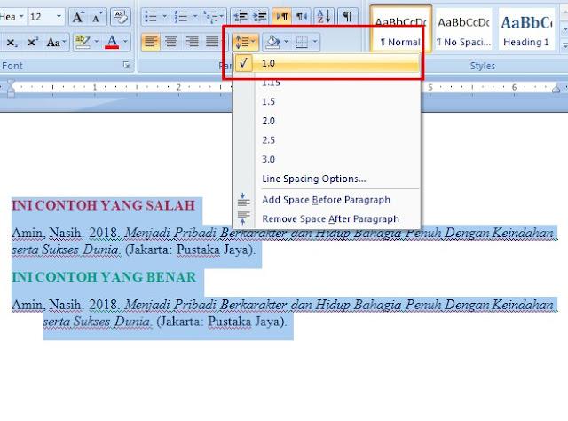 Gambar pengaturan daftar pustaka 1 spasi di ms word