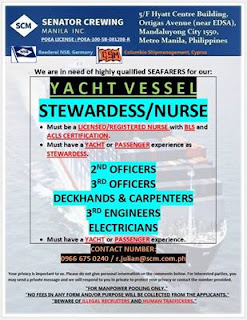 SEAMAN JOB Crewing Manila Urgent hiring for Filipino seafarers crew work at YACHT vessel deployment January 2019