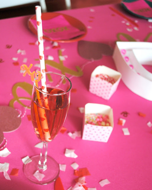 Serve up some bubbly at your Galentine's Day party. More inspiration can be found at www.fizzyparty.com