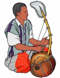 ボロンを演奏する男性の図 (bolon/西アフリカ)