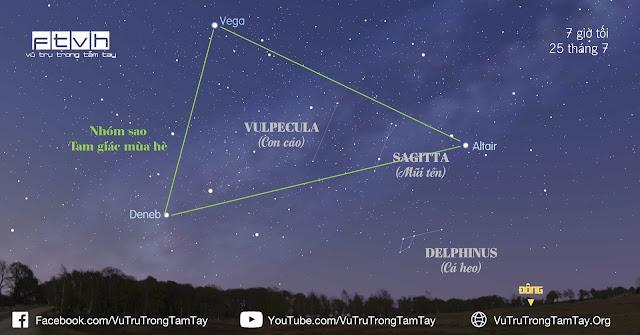 #BầuTrờiĐêmNay 25/7/2016. Quan sát Tam giác mùa hè và những chòm sao nhỏ.