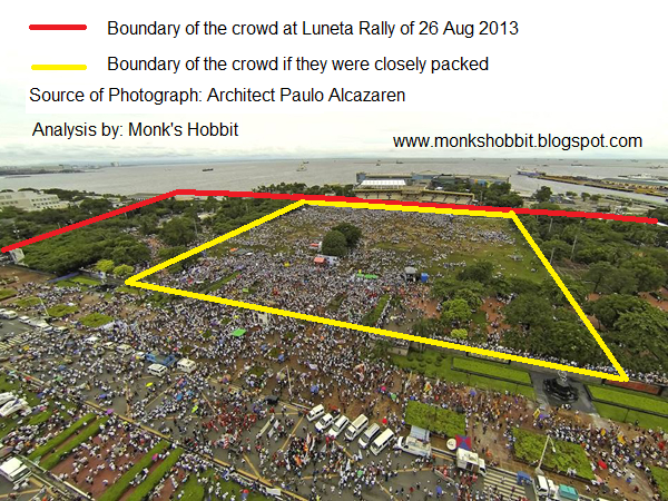 Photo of Luneta crowd during 26 Aug 2013 with boundary lines yellow and red. Photo by Almacazaren
