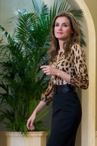 Princess Letizia wore Hugo Boss leopard blouse and Boss black skirt. Style of Princess Letizia