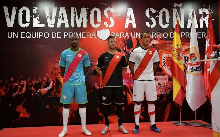 Spanish La Liga club Rayo Vallecano revealed its new jerseys for the 2018-19  season. The Rayo Vallecano 18-19 kits are once again made by Kelme and  again ... 9f7dcba78