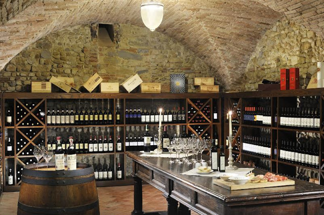 Castello del Nero,the wine cellar, image via Castell del Nero website, edited by lb for linenandlavender.net: http://www.linenandlavender.net/2010/01/design-daily-hotel-feature-castello-del.html