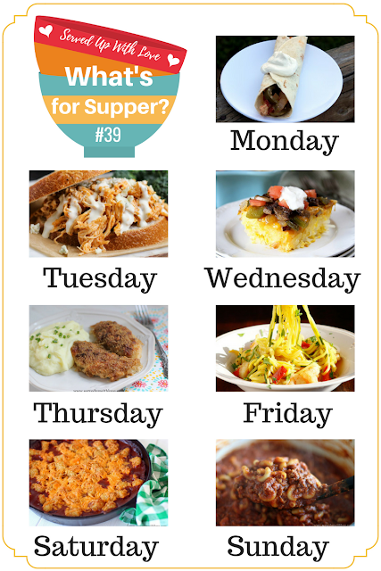 Farmers Market Skillet, Crock Pot Buffalo Chicken Sandwiches, Easy One Pot Chili Mac, and so much more at What's for Supper Sunday meal plan over at Served Up With Love.