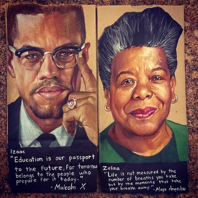 05-Malcolm-X-Maya-Angelou-L-Jinks-Brown-Bag-Art-Father-and-Drawings-for-Children-www-designstack-co