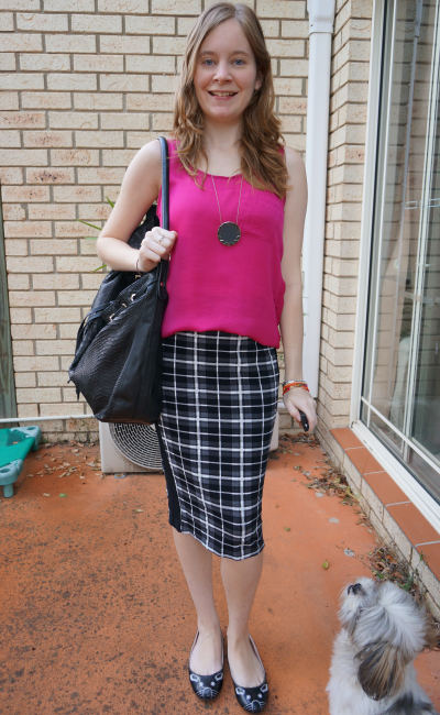 Pink satin singlet asos checked plaid tartan panelled pencil skirt office outfit