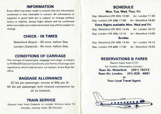 Ryanair's timetable 1986 - back