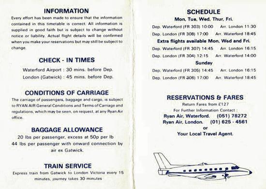 Ryanair's timetable 1986 - back