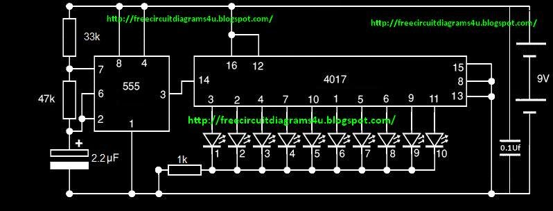 free circuit diagrams 4u simple christmas chaser. Black Bedroom Furniture Sets. Home Design Ideas