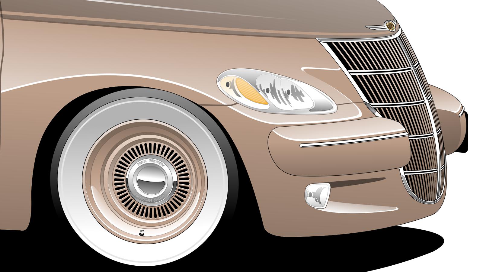 Imagem mostrando detalhes da frente do Chrysler PT Cruiser ''Retrovan''