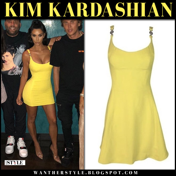 Kim Kardashian in versace couture vintage yellow mini dress and transparent pumps yeezy summer night out style august 15