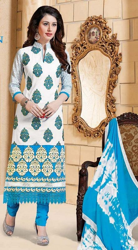 #White & Sky Blue Cotton #SalwarKameez For #Navratri Moksha Fashions
