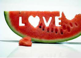 love word written on watermelon