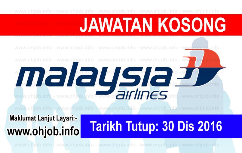 Jawatan Kerja Kosong Malaysia Airlines Berhad logo www.ohjob.info disember 2016
