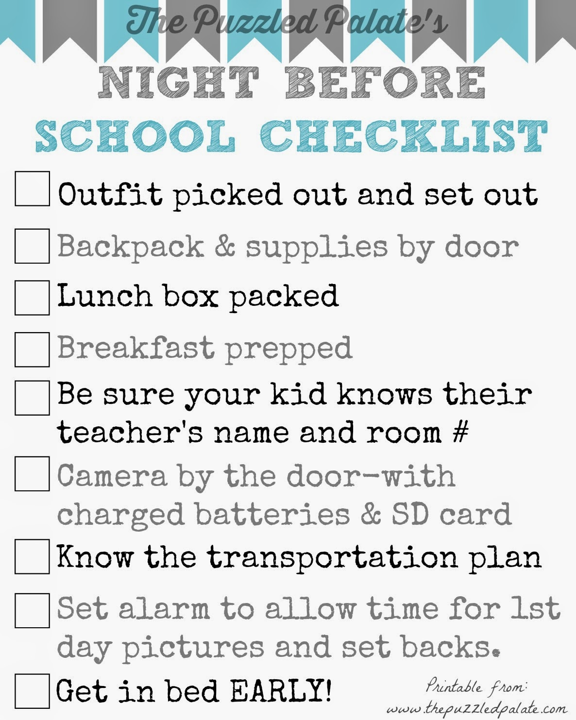 The Puzzled Palate Back To School Checklist Free Printable
